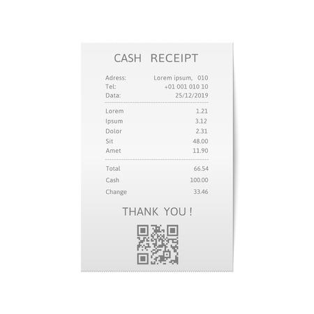 Recibos de facturas impresas. Cheque en papel, recibo de venta o plantilla de factura