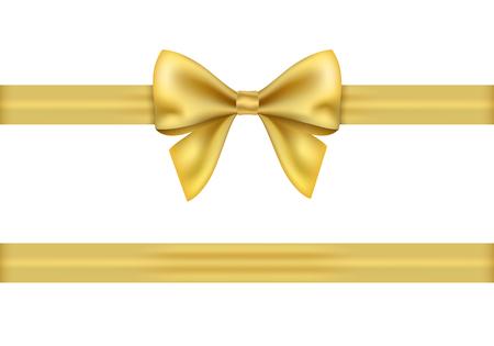 Ruban cadeau doré et archet sur fond blanc. Vecteurs
