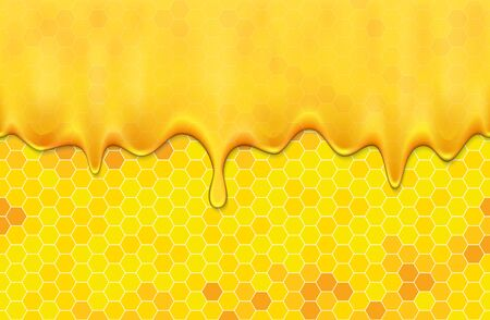 Dripping honey and honeycombs. Transparent seamless pattern.