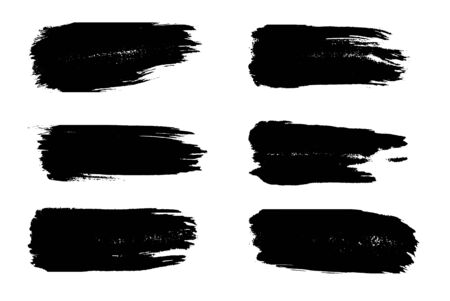 Grunge brush strokes. Set of black stripes chalk and charcoal on white background. Ilustracja