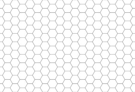 Hexagon seamless pattern. Black honeycomb on white background. Golf texture.