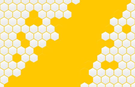 Honeycomb pattern. Monochrome honey mosaic background.  Orange-yellow geometric hexagonal ornament.
