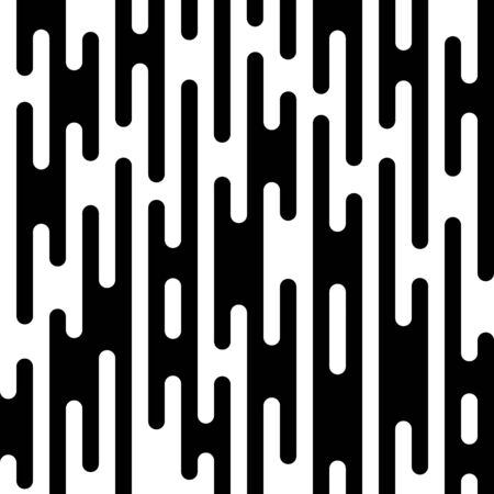 Rounded lines pattern. Abstract black and white dashed lines and dots.  Ilustracja