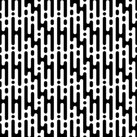 Rounded lines seamless pattern. Abstract black and white dashed lines and dots.
