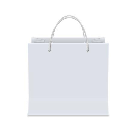 Sac de papier shopping blanc vide. Illustration vectorielle isolée maquette réaliste sur fond blanc.