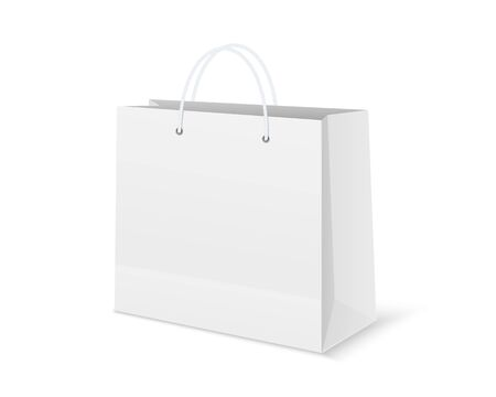 Blank shopping paper bag. Empty cardboard packet on white background.