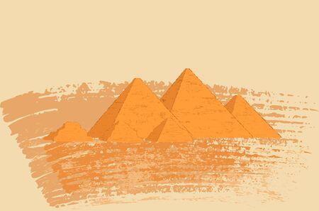 Egyptian pyramids Sahara desert landscape. Vector illustration in grunge style.