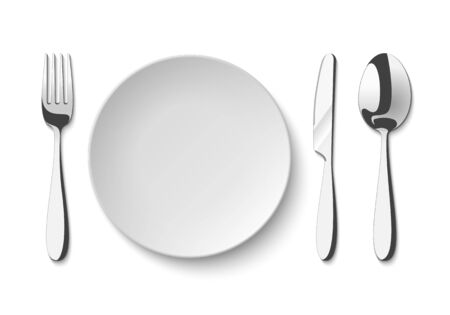 Empty plate with spoon, knife and fork. Set of isolated cutlery on a white background.