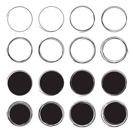 Hand drawn circle line. Doodle circular design elements. Art round scribble. Set of black circles on a white background. Illusztráció