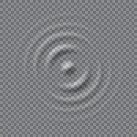 Splash ripple waves water surface. Drop falling on milk. Circles waves on a transparent background.