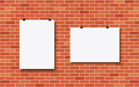 Blank posters on a red brick wall. Vector illustration.