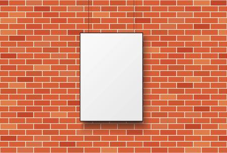 Blank poster on a red brick wall. Vector illustration. Illusztráció