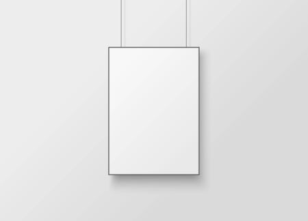 White poster with black frame mockup.  Empty white A4 sized paper hanging on gray wall Illusztráció