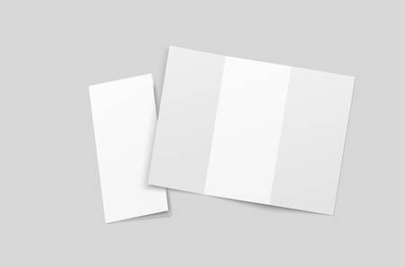 Blank tri fold brochure mock up. Open and closed booklet template. Standard-Bild - 151630937
