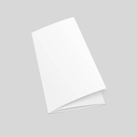 Blank tri fold brochure mock up. Closed booklet template. Illusztráció