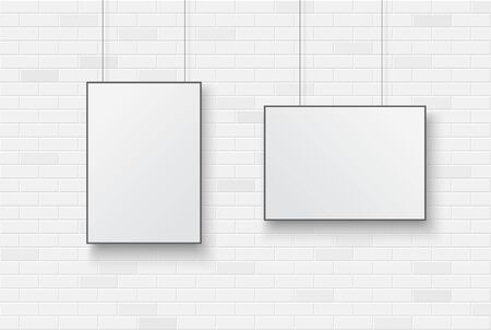 Blank poster on a white brick wall.  Vector illustration.