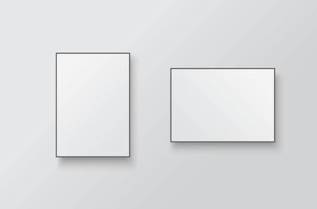 White posters with black frame mockup.  Empty white A4 sized paper hanging on gray wall Illusztráció