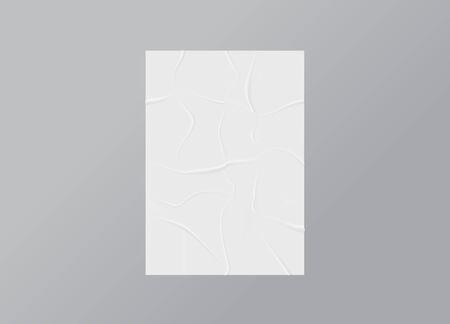 Wrinkled poster mockup. Glued paper.