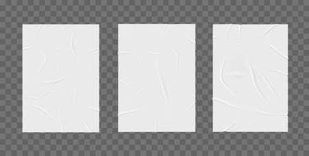 Wrinkled posters mockup. Glued paper.