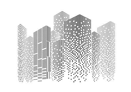 Silhouettes of city skyscrapers. Buildings with light windows vector illustration. Illusztráció
