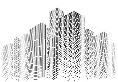 Silhouettes of city skyscrapers. Buildings with light windows vector illustration. Standard-Bild - 150697258