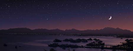 Seaside town and starry sky. Magic moonlight over the sea harbor. Standard-Bild - 153445474
