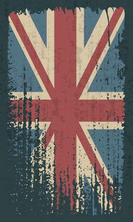 Grunge UK flag. Vintage United Kingdom flag grunge style.