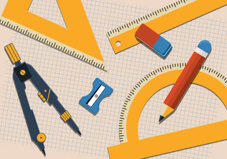 Geometric sketching and painting tools. School measuring equipment. Illustration