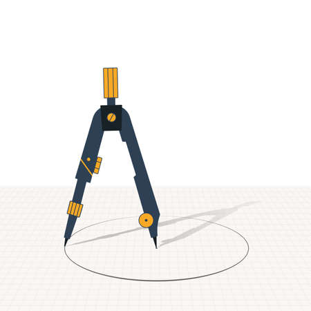 Compass is a geometric tool for drawing circles. Illustration