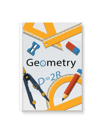 Geometry cover book. Mock up geometry textbook Illustration
