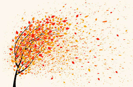 Autumn background with tree, yellow leaves and leaf fall. Vector illustration.