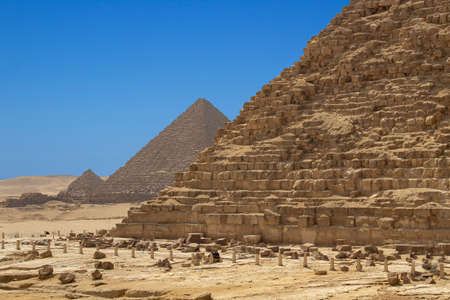 Great Pyramids of Giza, Egypt. Pyramid of Khufu, Karfe and Menkaura Archivio Fotografico