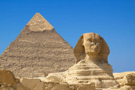 Great Sphinx and Chephren's pyramid in Giza, Egypt.