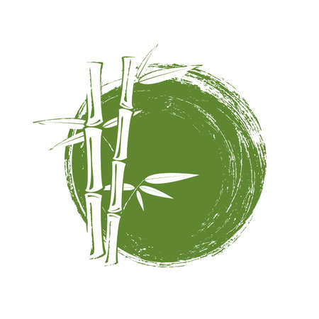 Bamboo tree and leaves on green grunge circle background. Vettoriali