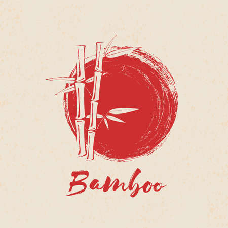 Bamboo tree and leaves on red grunge circle background.
