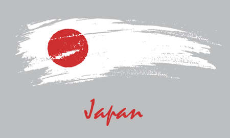 Japanese flag brush drawing in grunge style.