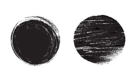 Grunge circle. Black vector scratched round texture. Illustration