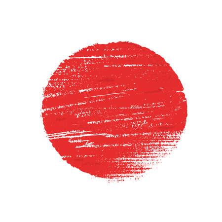 Japanese flag symbol of rising sun. Red circle in grunge style on white background. Standard-Bild - 155206436