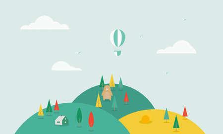 Nature landscape background. Cartoon landscape with trees, hills and fields. Cute flat design. Standard-Bild - 155434828