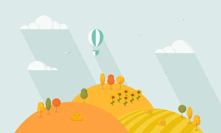 Natural autumn landscape. Cartoon landscape with trees, hills and fields. Cute flat design.