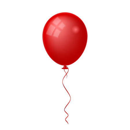 Red shiny balloon isolated on white background. Vettoriali