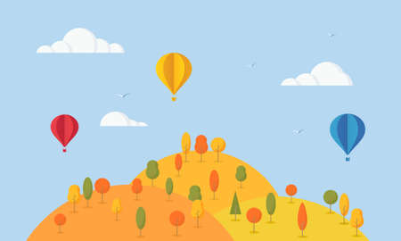 Natural autumn landscape. Cartoon landscape with trees, hills and Air balloons. Cute flat design.