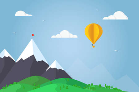 Hot air balloon flying in mountains. Paper art and origami style.