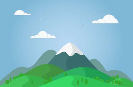 Mountain peak. Natural landscape with mountains, hills and clouds in flat style.