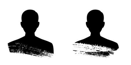 Man silhouette profile. Male avatar and conceptual user icon.