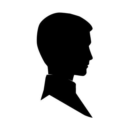 Man silhouette profile. Male avatar and user icon.