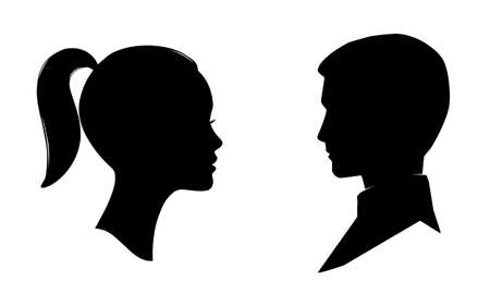 Woman and man face silhouette. Male and female profile.
