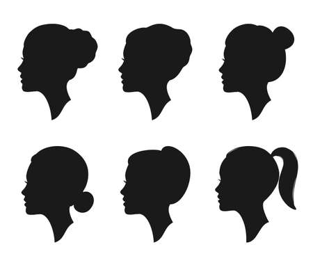 Woman profile silhouette with different hairstyles. Female portrait. Beautiful female face in profile.