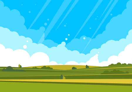 Natural landscape with fields, hills and clouds in the sky. Illustration