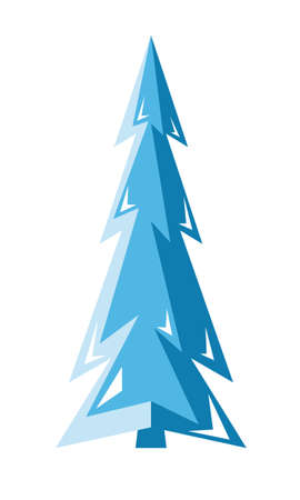 Christmas tree. Blue spruce icon. Isolated vector illustration on white background.